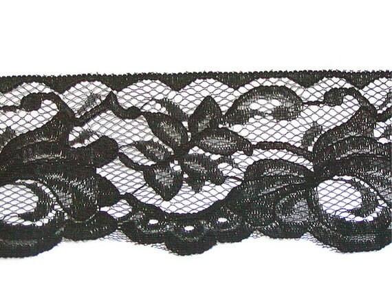 Black Lace, Flat Lace Trim, Black Flat Trim, Gothic, 4 and a half W, Wedding, Flower Lace, 7 Yards, Edging, Bridal Lace, Destash, Vintage