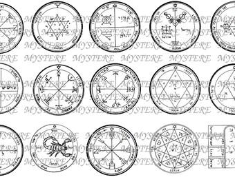 Mars Jupiter Moon Planetary Sigils - Solomonic Magick- Digital Collage Sheet - 1 inch circles and square