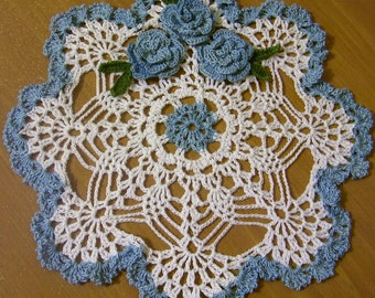 delf blue roses  lace crochet thread spring home decor crocheted doily
