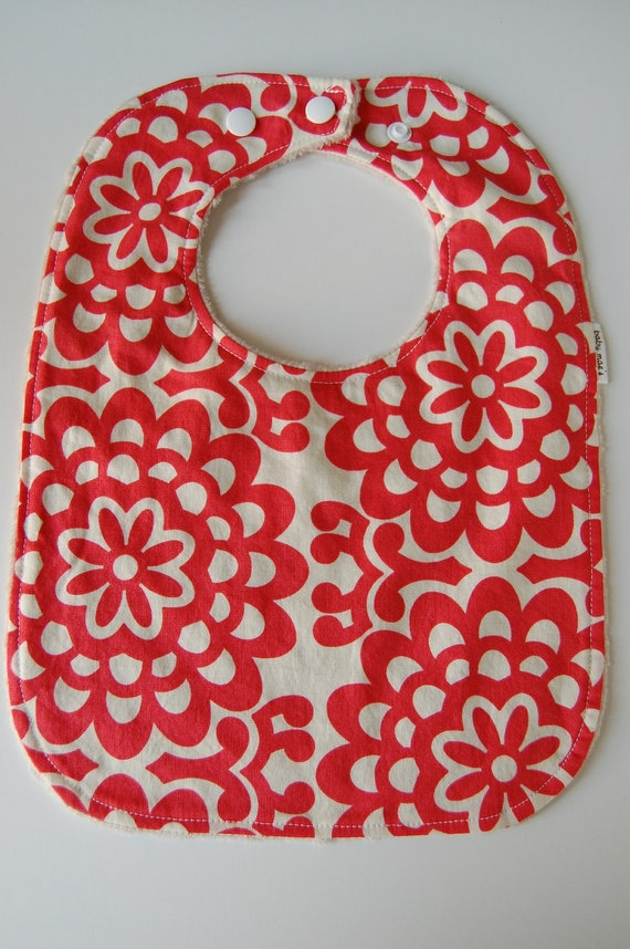 Baby Toddler Bib, READY to SHIP, Cherry Wall Flower and Latte Minky Dot