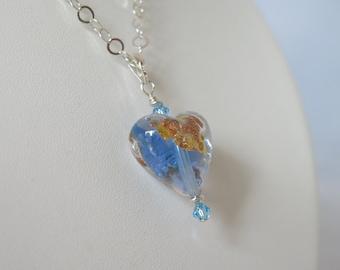 Venetian Glass Blue Heart Necklace 925 Sterling Silver