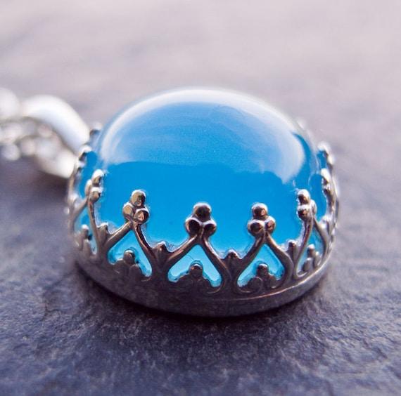 Blue Chalcedony Necklace. Chalcedony Pendant