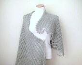 Gray Shawl - Shiny Rectangular Grey Crochet Shawl - GIFT for HER