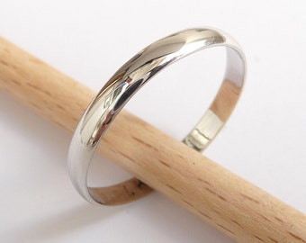 White gold wedding ring women men wedding band 3mm wide by 1mm thick classic gold ring