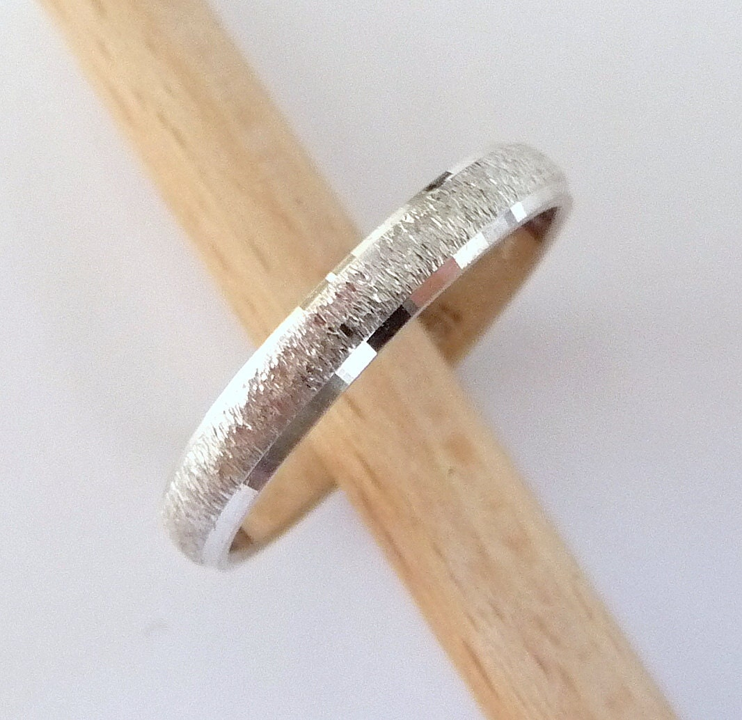 White Gold Wedding Ring Womens Mens Wedding Band 3mm Wide 14k