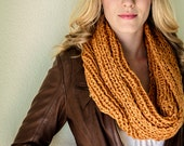 SALE-Deep Saffron Yellow/Orange HandKnitted Peruvian Wool Cowl, Chunky Infinity Scarf/Cowl, design by behin, Holiday Gift, Fall Scarf SALE