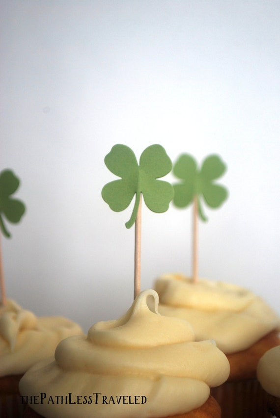St. Patrick's Day Shamrock Cupcake Toppers, 12 little four leaf clovers