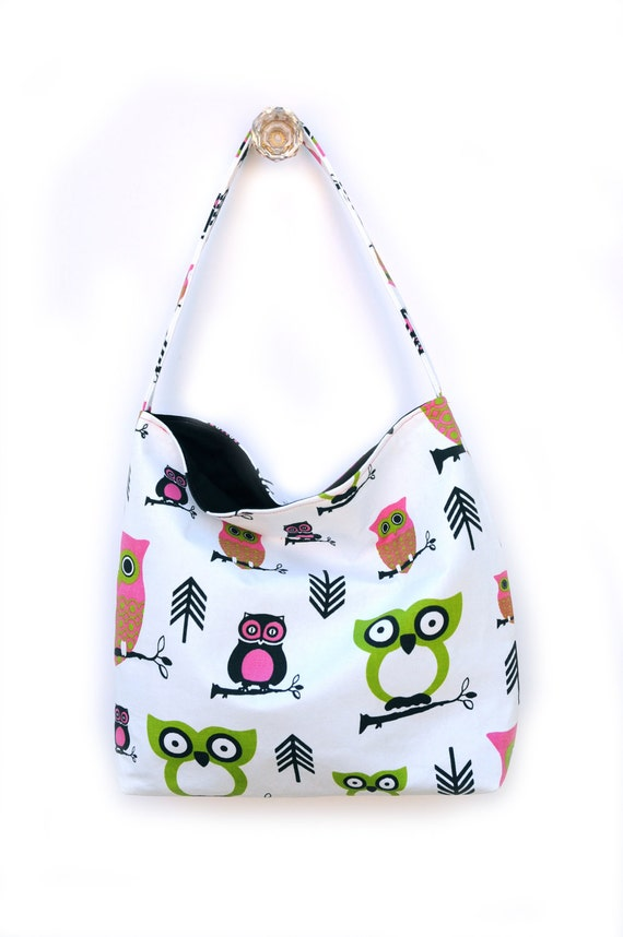 Owl Shoulder Slouch Bag - Medium Sized with Bright Hot Pink Green and Black Owls