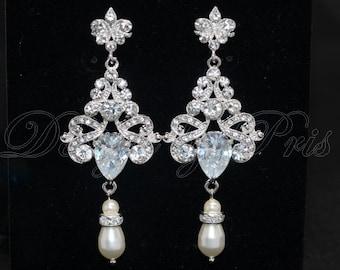 SALE 10% - JE10 - CZ Chandelier with Swarovski Ivory Cream Pearls Earrings  - Bridal.Accessories.Jewelry