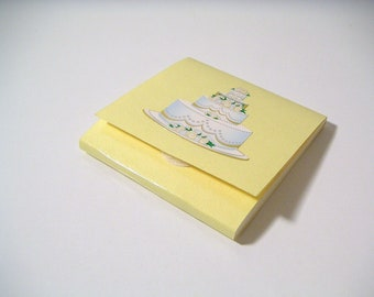 Yellow Sticky Notes Pad with Wedding Cake - Wedding Paper Favor