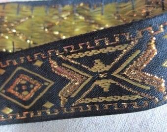 Diamond X geometrix jacquard ribbon in GOLD and Antique GOLD