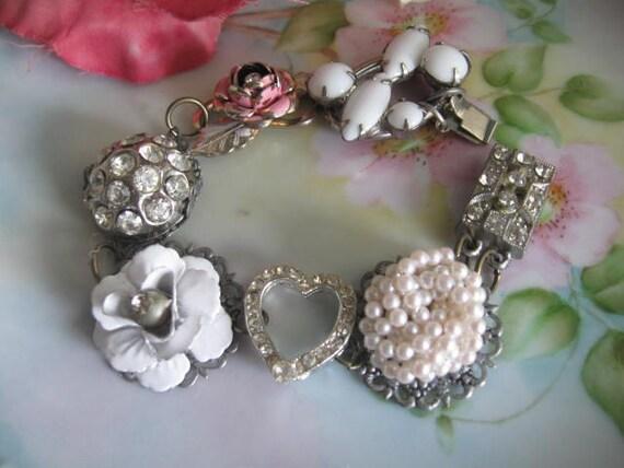 Grace Kelly.vintage assemblage rhinestone jewelry bracelet