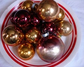 Vintage Shiny Brite Glass Ornaments-Shabby Chic-Maroon & Golds