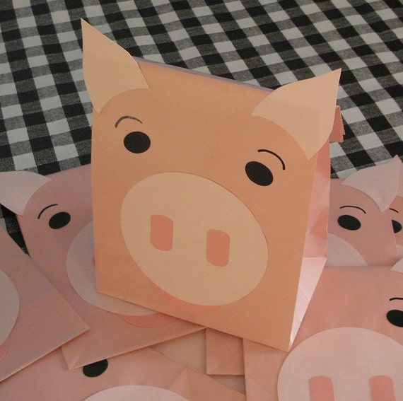 RESERVED for hdzmel - Farm Animal Birthday Party Treat Sacks Goody Bags by jettabees on Etsy