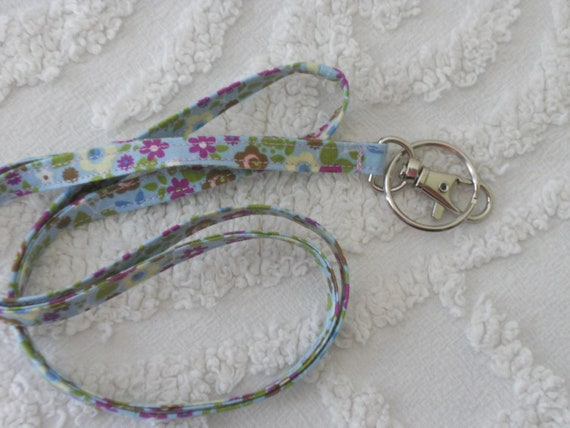 Lanyard,  Handmade Fabric, ID Holder,  Blue, Purple Floral