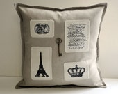 "Linen Effiel tower  pillow cover 16""x16"""