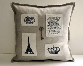 """Linen Effiel tower  pillow cover 16""""x16"""""""