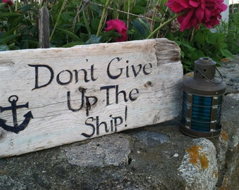 Rustic Reclaimed Driftwood Sign, Hand Painted Nautical Home Wall Decor, Home And Living, Outdoor Decor