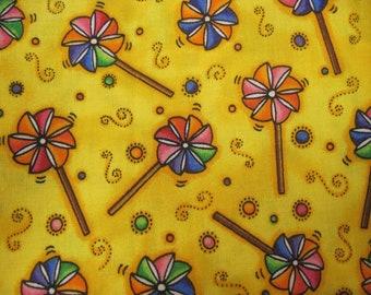 Yellow Pinwheel  Fat Quarter