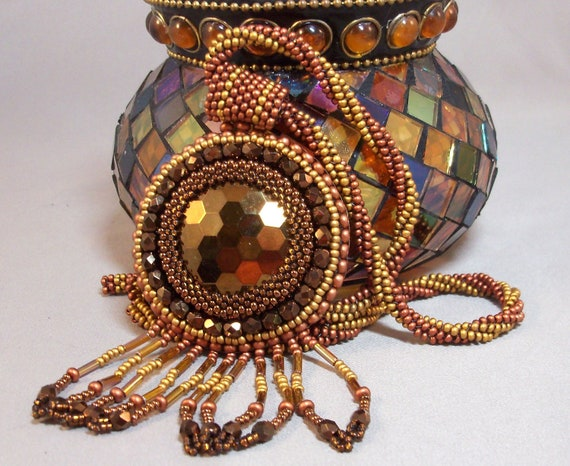 Bronze Necklace Copper and antique Gold Beadwoven