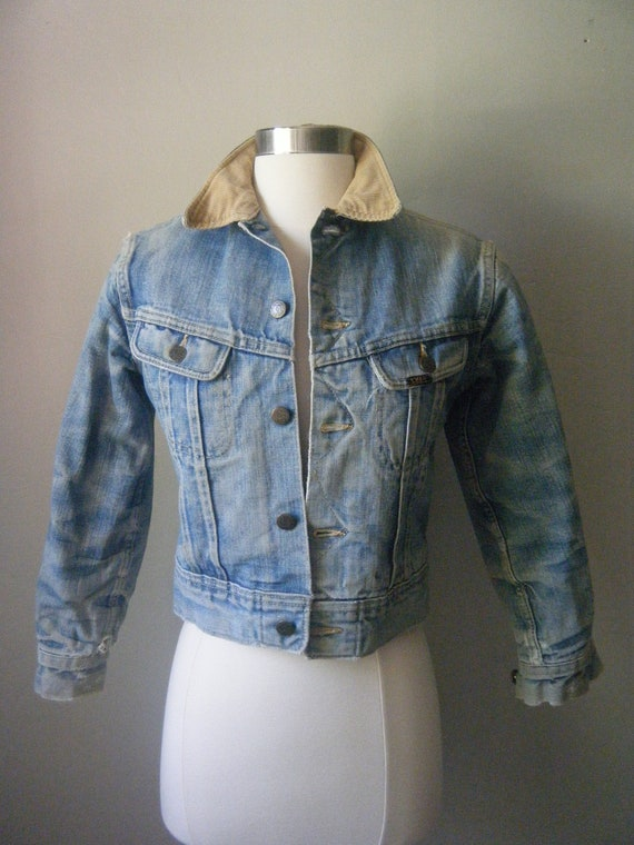 Vintage Children's Denim Jacket, Storm Riders by Lee, with Flannel Interior, Corduroy Collar, Cowboy on the Ranch Style, FREE SHIPPING