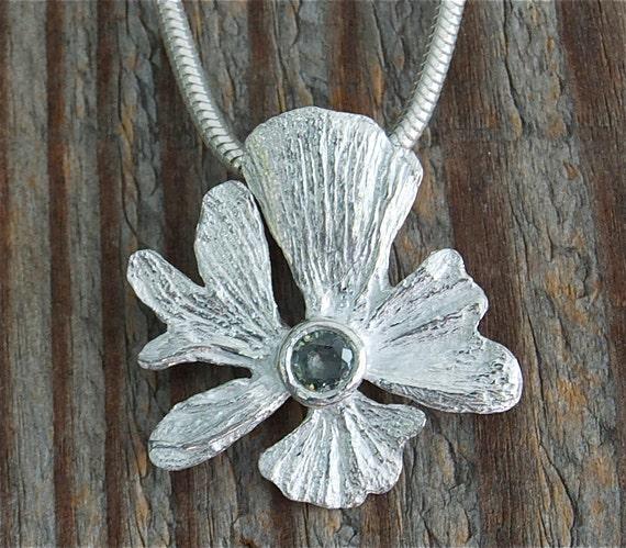 eco friendly artisan jewelry, unusual ginkgo leaf necklace fall wedding sapphire necklace, silver flower, september birthday