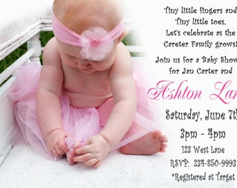 Soft Pink toes Baby Shower Invitation for GIRL