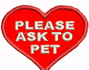 Ask to Pet Heart Patch Service Dog Patches Assistance Dog Support