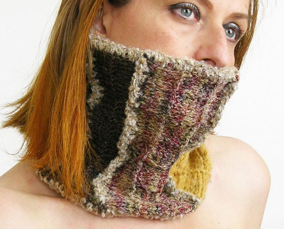 knit neck warmer scarf cowl tube scarf  tube cowl  knitted mustard brown olive beige curationnation fall winter