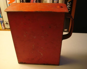 Vintage Tin Dry Goods Container with Handle