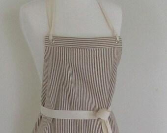 Full  Hemp Apron -  Tan  White Stripes -  Organic Fabric - Restaurant Apron