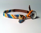 Hand Knotted & Braided Leather Studded Friendship Bracelet- Orange / Blue
