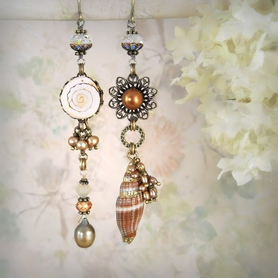 RESERVED for Victoria - Siren's Blush OOAK Seashell Asymmetrical - Mermaid Earrings - Beach Wedding - Boho Bride - Peach Earrings