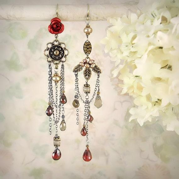 Weeping Rose - Asymmetric Asymmetrical Mismatch, Romantic Red Rose Earrings, Unique, Artisan, Garnet, Boho Bride, Bohemian Garden Wedding