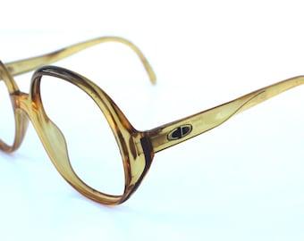 Summer Sale Christian Dior Vintage Circular Caramel Glasses Frames