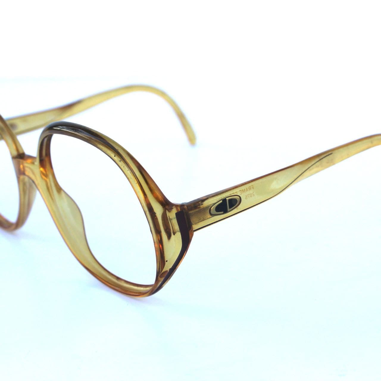 Christian Dior Vintage Circular Caramel Glasses Frames ...