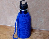 Sports/Water Bottle Cozy, Insulating Holder, Carrier, Drawstring Tote, Royal Blue Crochet