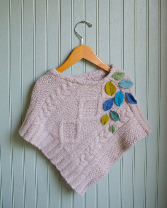 Little Leaves Poncho made from Reclaimed Angora and Lambswool//3-5 year size