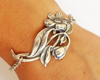 Steampunk Flower Bracelet- Sterling Silver Ox Finish