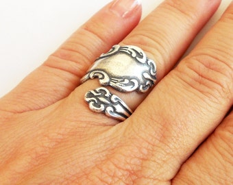 Steampunk Spoon Ring- Bypass Ring- Adjustable- Sterling Silver Ox Finish- Style 1