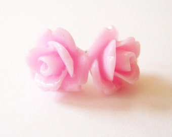 Pink Rose Stud Earrings- Surgical Steel or Titanium Posts- 10mmBlack Friday Sale 20% Off