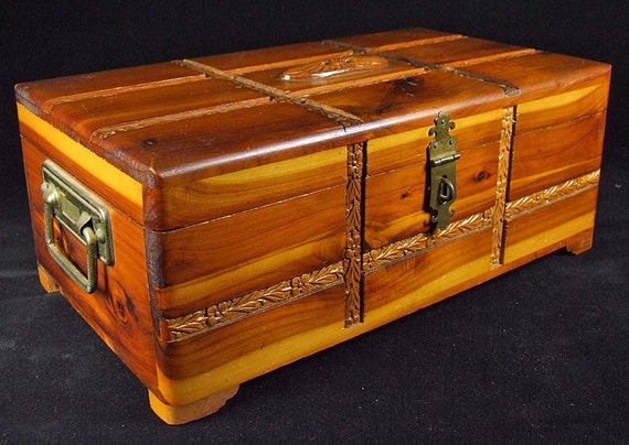 Vintage Minature Small Cedar Hope Chest Jewelry Trunk Inlaid Wood Very Ornate Brass Handles
