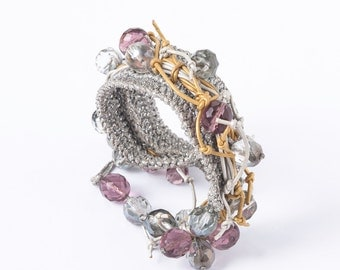 Silver Crocheted Bracelet with Silver and Gold Leather Cord, Mauve, Clear and Metallic Shade Glass Beads