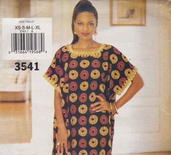 See and Sew  3541 Dashiki Caftan Dress Sewing Pattern Bust  30-44 UNCUT Size XS- XL