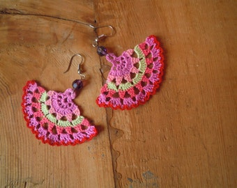 crochet earings- multicolored