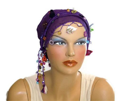 purple cotton scarf, bandana