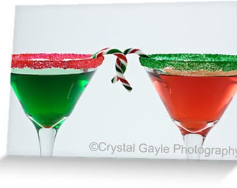 """Christmas Cocktail Cards ~ Candy Canes ~ 4.25""""x5.5"""" or 5""""x7"""",  Red, Emerald Green, Modern, Festive, Holiday Greeting, For Girlfriend, Invite"""