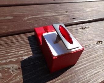 Vintage 1960's Jorgen Jensen Denmark Red Pewter Ladies Adjustable Ring   Free Shipping