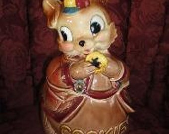 Vintage 1960's Royal Sealy Bunny Rabbit Ceramic Pottery Cookie Jar