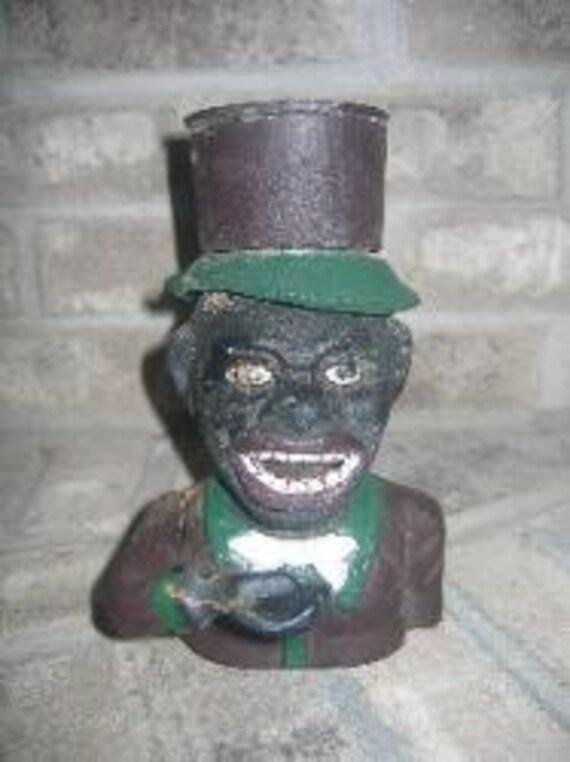 Antique Jolly Man Cast Iron Mechanical Money Coin Bank